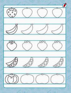 fruits pre writing sheet