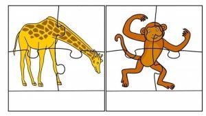 giraffe monkey printable puzzles