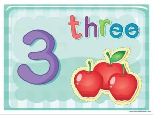 number and counting cards with fruits