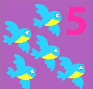 number flashcard with bird