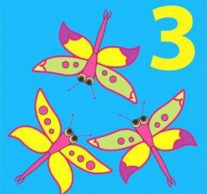 number flashcard with dragonfly