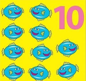number flashcard with fish