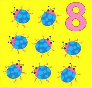 number flashcard with ladybugs