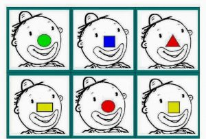 shape and color clown activities