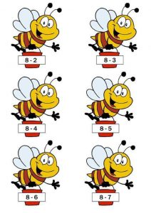 subtraction sheet with bee