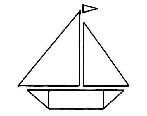 Boat Shapes Coloring Page Funnycrafts