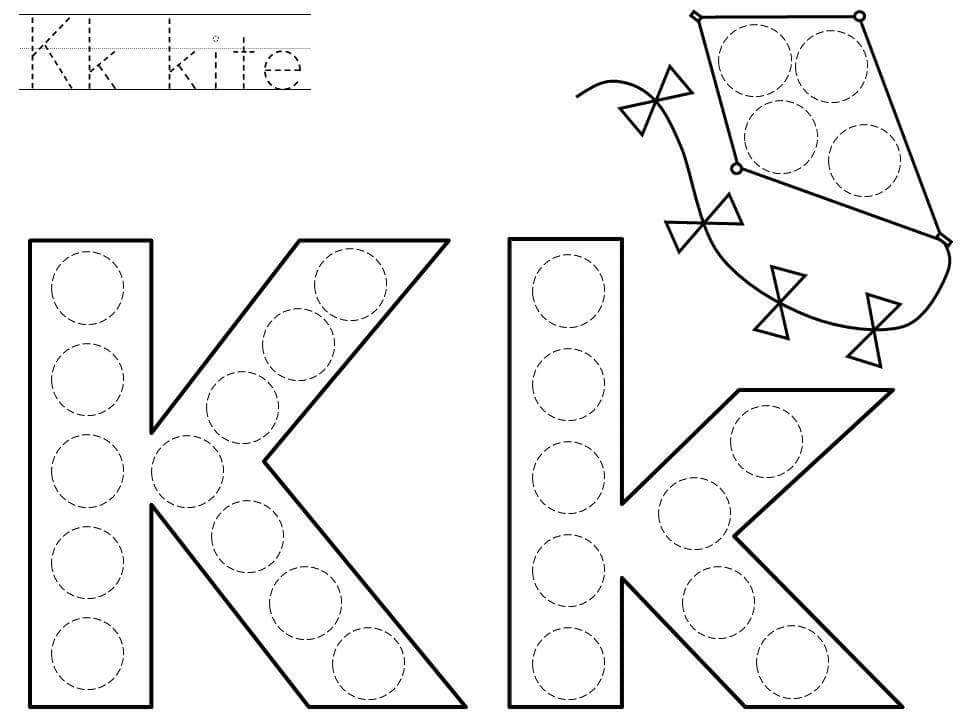 Do a dot letter k printable Funnycrafts