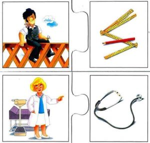 doctor construction engineer flash cards for kids