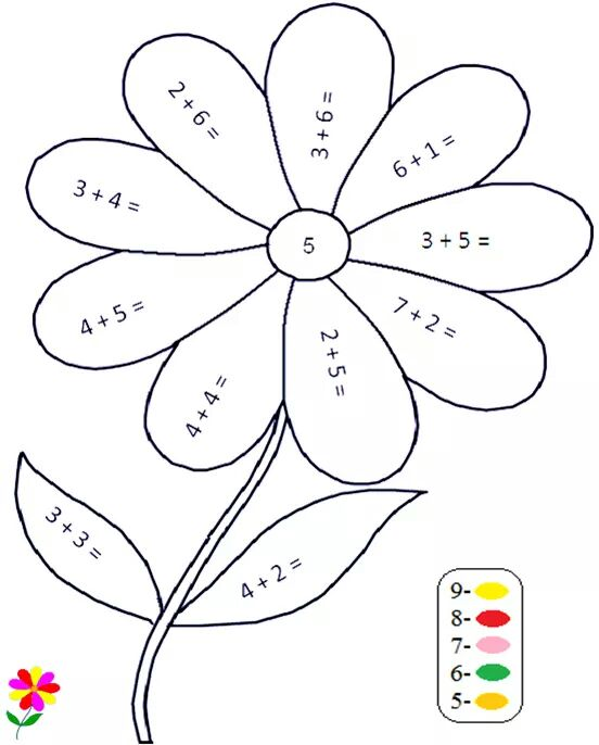Flower Addition Color By Number on Preschool Writing Pages