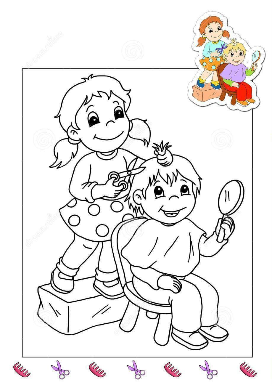 Coloring pages jobs -  Hairdresser Coloring Page