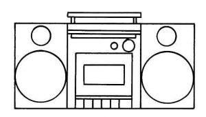 music player shapes coloring page
