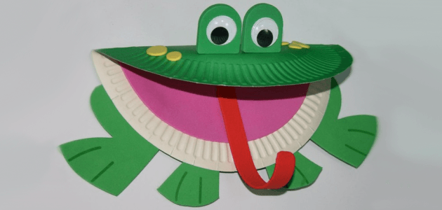 Paper plate frog craft funnycrafts for Paper plate craft images
