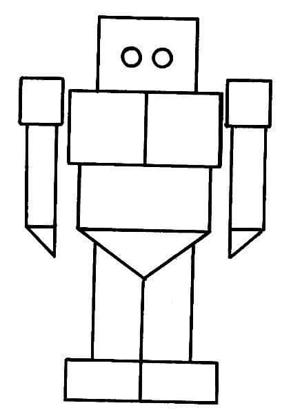 Robot Shapes Coloring Page 2 Funnycrafts