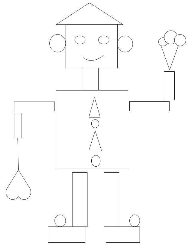 Shapes coloring pages » robot shapes coloring page