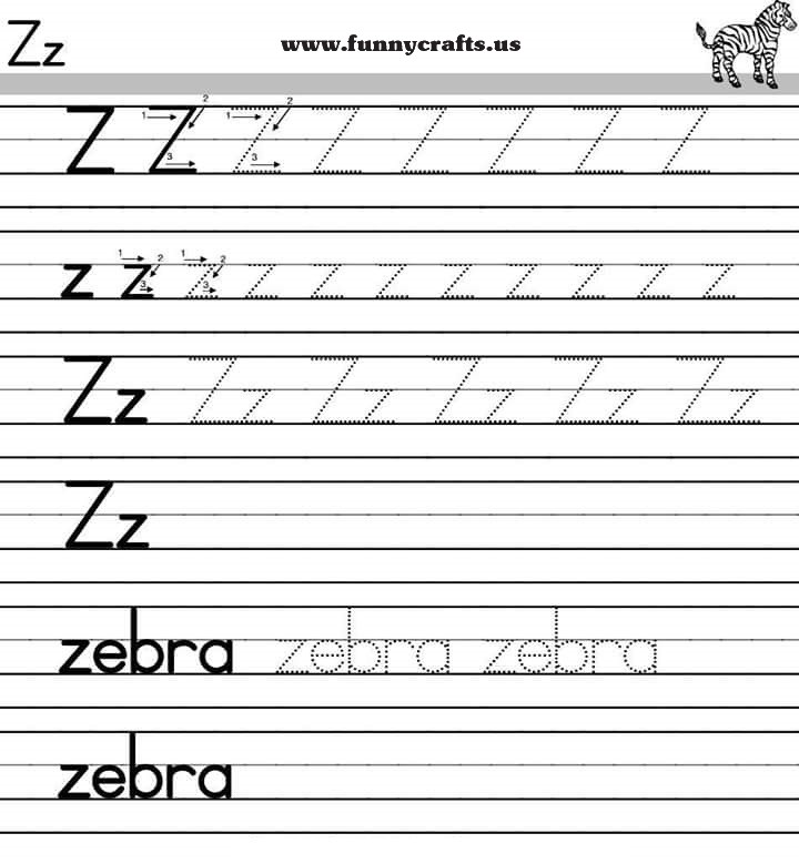 letter z handwriting worksheets for preschool to first grade funnycrafts. Black Bedroom Furniture Sets. Home Design Ideas