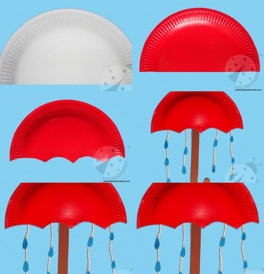 Paper plate umbrella crafts for kids 4 Funnycrafts