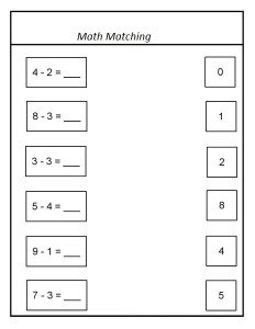 animals math matching activities