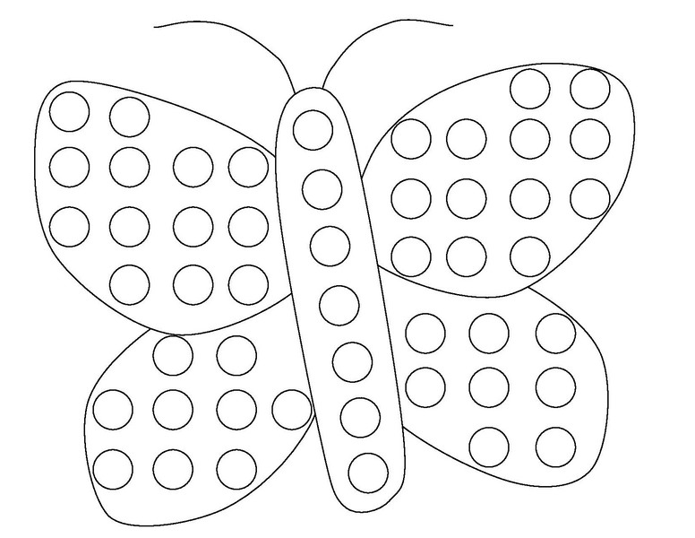 spring activities for kds butterfly do a dot coloring page - Coloring Pages Spring Butterflies