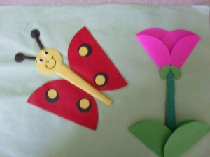circle paper flower and butterfly