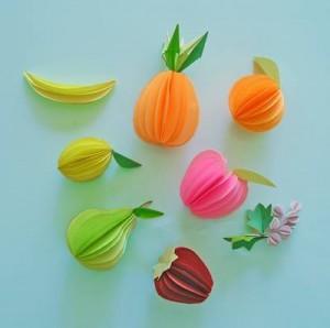 circle paper fruits