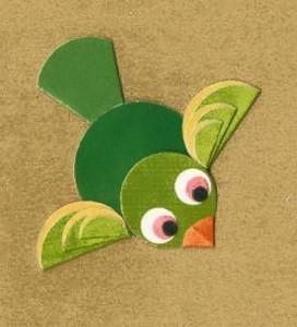 circle paper green bird