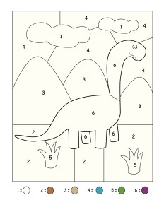dinosaur coloring numbers