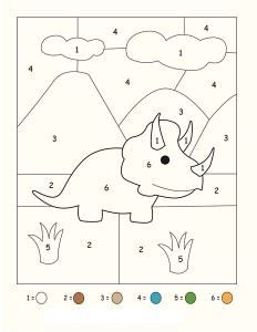 dinosaur number coloring page