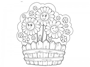 flowers spring coloring page