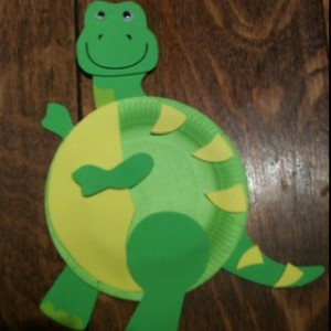 paper plate dinosour