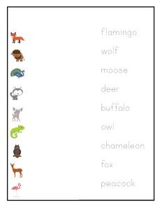 preschool animals  match