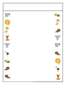 preschool animals matching