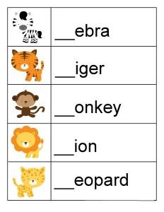 preschool animals words
