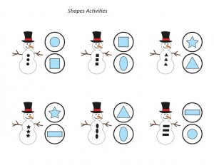 snowman shapes activity