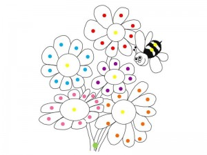 spring coloring page do a dot