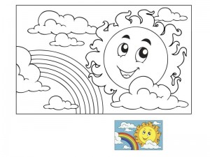 spring coloring page sun and rainbow