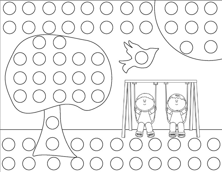 spring do a dot coloring page