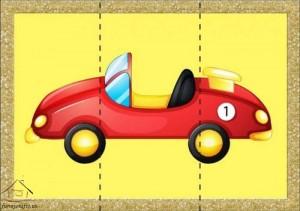 three piece puzzle car