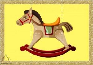 three piece puzzle horse