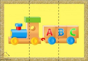 three piece puzzle train