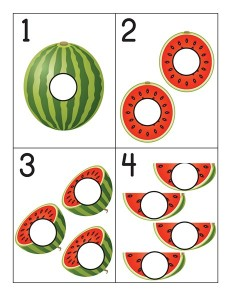 watermelon number cards