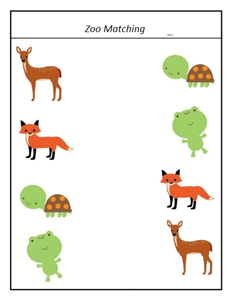 Preschool Worksheets Matching Similars : Zoo matching activity « preschool and homeschool