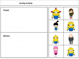 Despicable me sorting activity