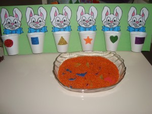 bunny shapes sorting activities