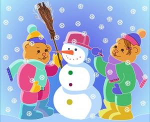 color painting snowman