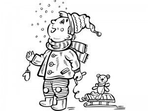 coloring pages winter  ski