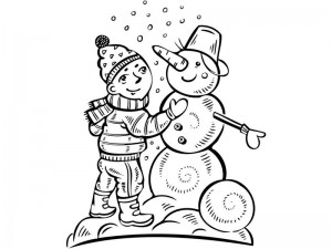 coloring pages winter  snowman