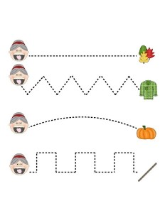 fall-autumn worksheets tracing line