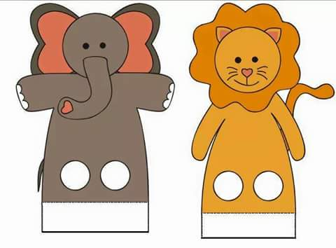 Finger Puppet Worksheets Elephant And Lion Funnycrafts
