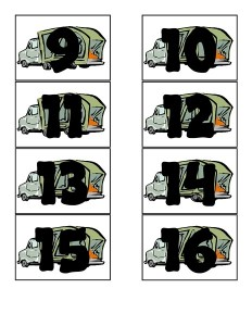 garbage truck worksheets numbers