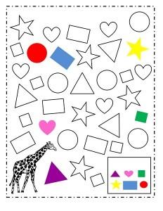 giraffe color shapes activity